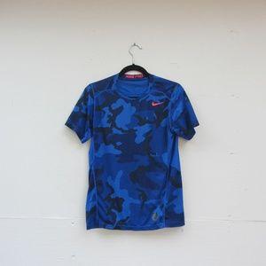 Nike Dri Fit Pro Blue Camo Short Sleeve Shirt
